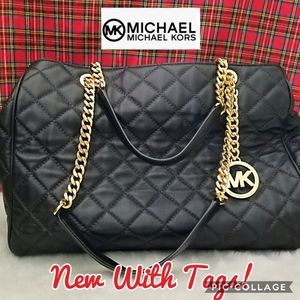 NWT Michael Kors Susannah Quilted Leather Satchel
